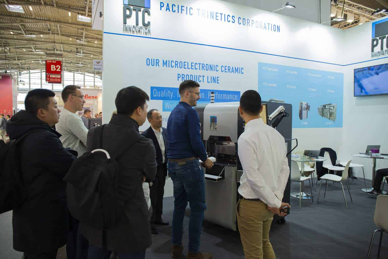 Picture shows visitors  viewing the new PTC Ceramic Cutter